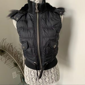 BB Dakota Hooded Cropped Vest Black Size S/M
